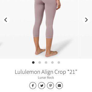 """Lululemon Align Crop 21"""" Sz4.NWOT. Lunar Rock"""